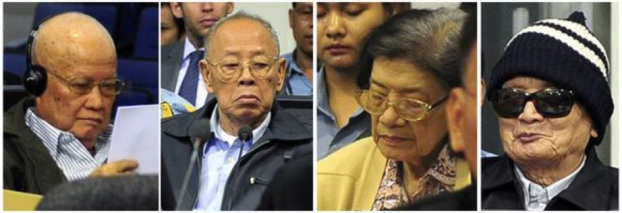 Keturi buvę raudonųjų khmerų režimo lyderiai: Khieu Samphanas, Iengas Sary, Ieng Thirith, Nuon Chea