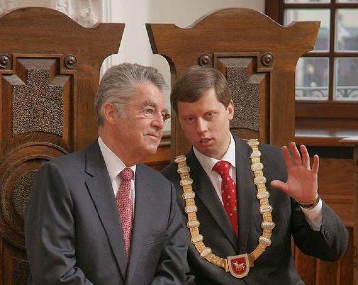 Austrijos prezidentas H.Fischeris domėjosi 600 metų savivaldos jubiliejų neseniai paminėjusio Kauno istorija bei architektūra.