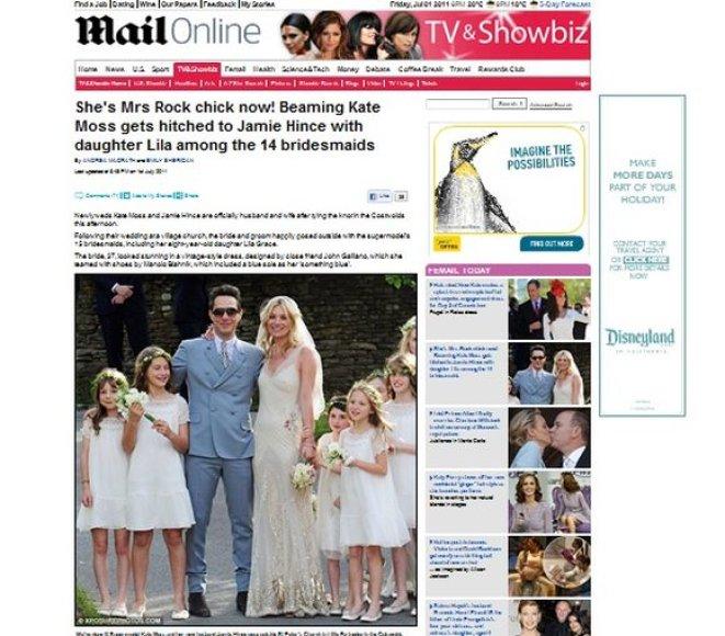 Kate Moss ir Jamie'io Hince vestuvės britų žiniasklaidoje