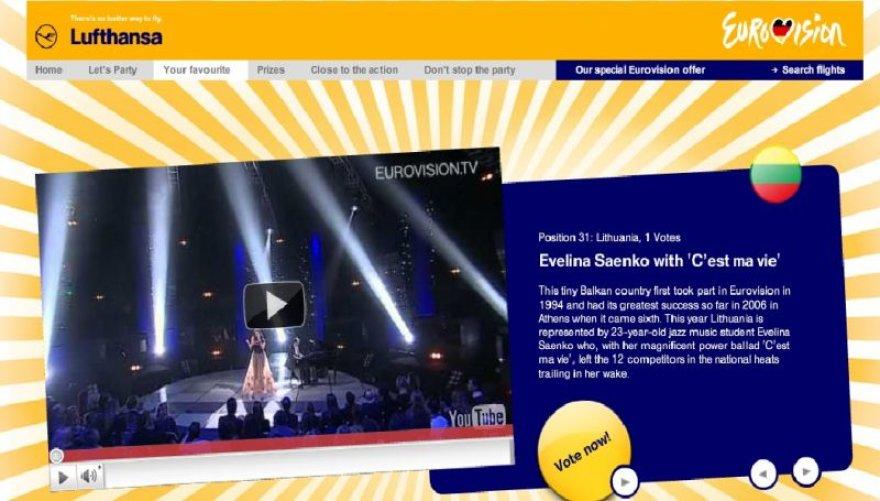 """Fragmentas iš aviakompanijos """"Lufthansa"""" internetinės svetainės"""