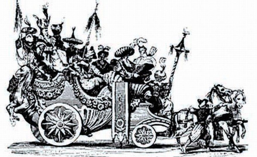 Karnavalo eisena Romoje 1748 metais; fragmentas iš 1842 metais sukurtos graviūros.