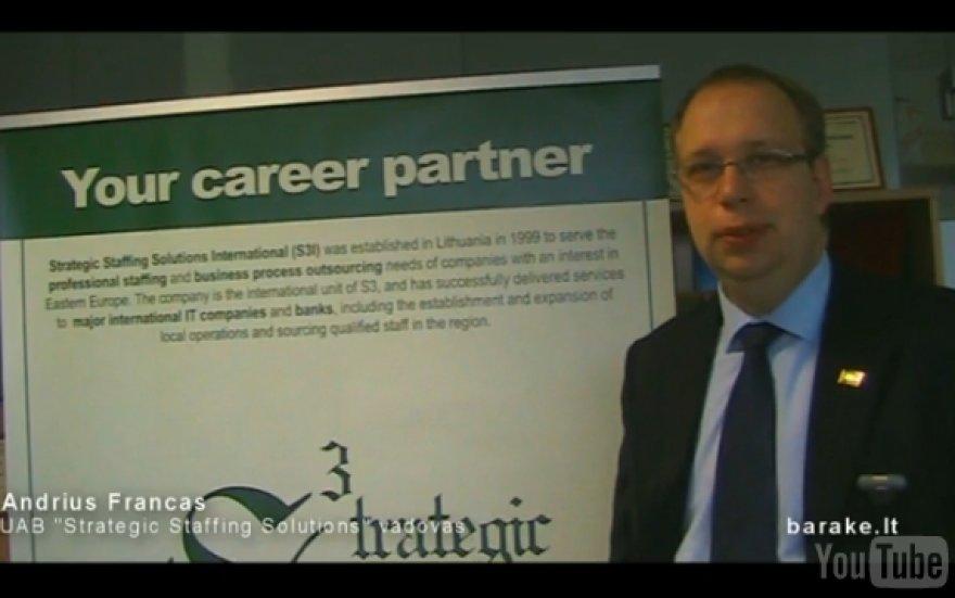 """Personalo atrankos įmonės """"Strategic Staffing Solutions"""" vadovas Andrius Francas"""