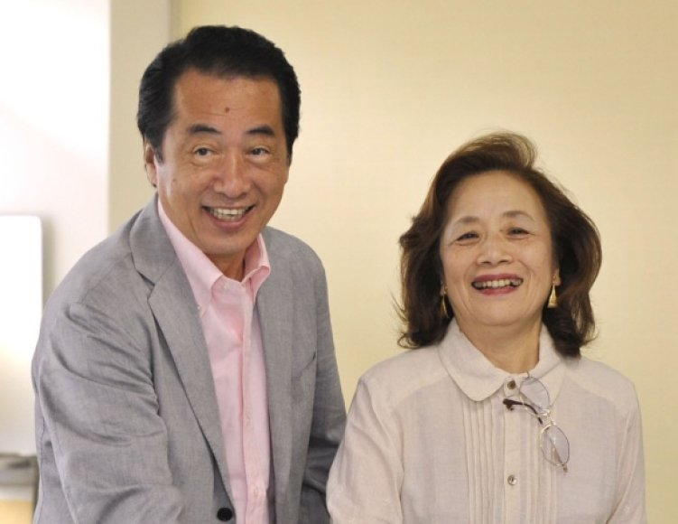 Japonijos premjeras Naoto Kanas su žmona Nobuko