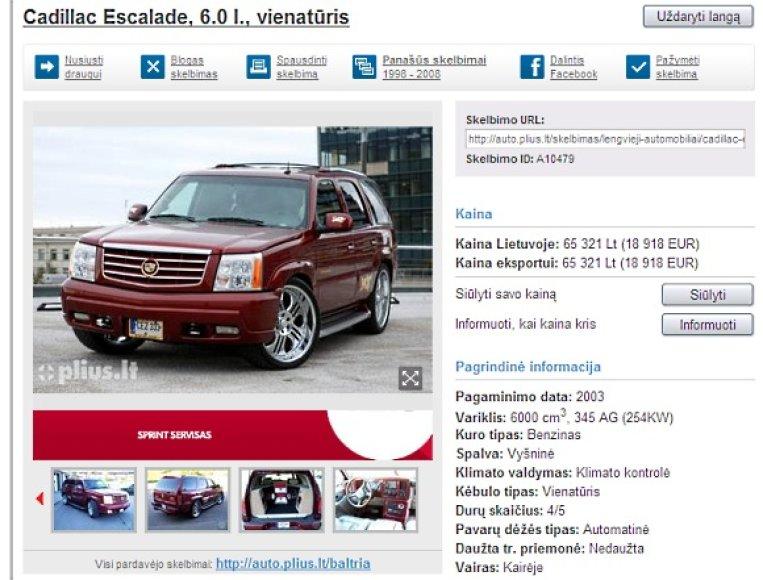 "DJ Sezzy parduoda automobilį ""Cadillac Escalade"""