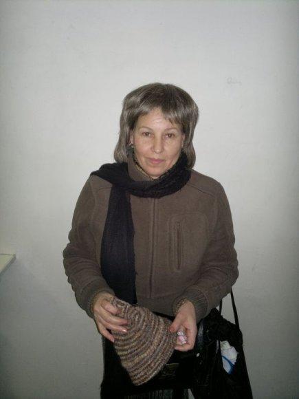 Įtariamoji kišenvagė K.B. (gim. 1959 m.) su peruku.