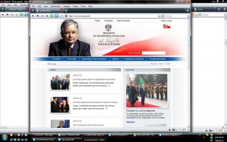Adresas Tomasevski.lt nuveda lankytojus į Lenkijos prezidento Lecho Kaczynskio tinklalapį. V.Tomaševskis tai vertina kaip pigų pokštą, kuris gali neigiamai atsiliepti jo rinkimų kampanijai.