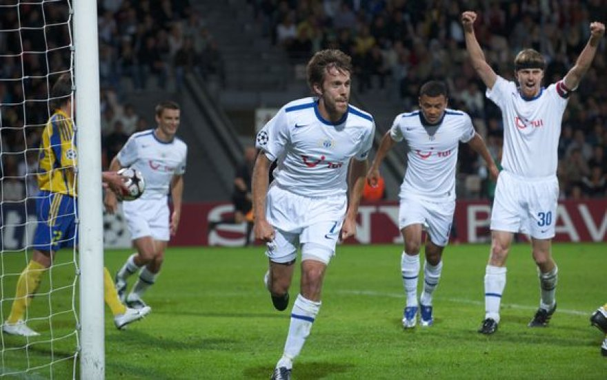 """""""FC Zurich"""" žaidėjai džiaugiasi įtikinama pergale prie """"Ventdspils"""" klubą"""