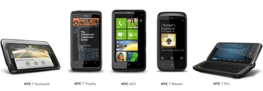 """HTC išmanieji telefonai, naudojantys """"Windows Phone 7"""" operacinę sistemą."""