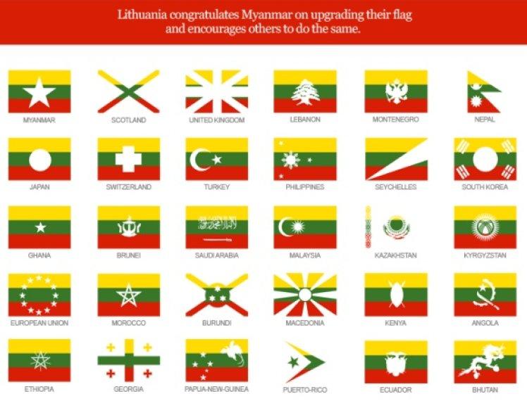 Paveikslėlyje pateikti pavyzdžiai, kaip galėtų atrodyti kitų šalių vėliavos, pritaikius Lietuvos trispalvės spalvinę gamą.