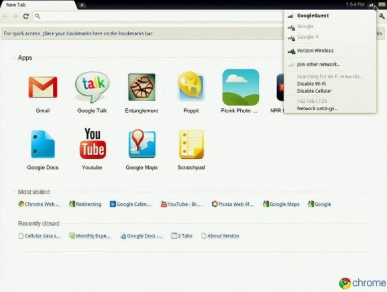 """Darbas su operacine sistema """"Chrome OS""""."""