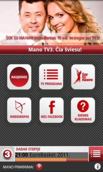 TV3 programėlė išmaniesiems telefonams
