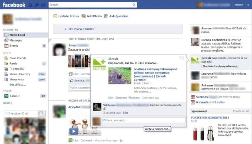 """""""Facebook"""" pagrindinis naujienų srauto puslapis tapo dinamiškesnis."""