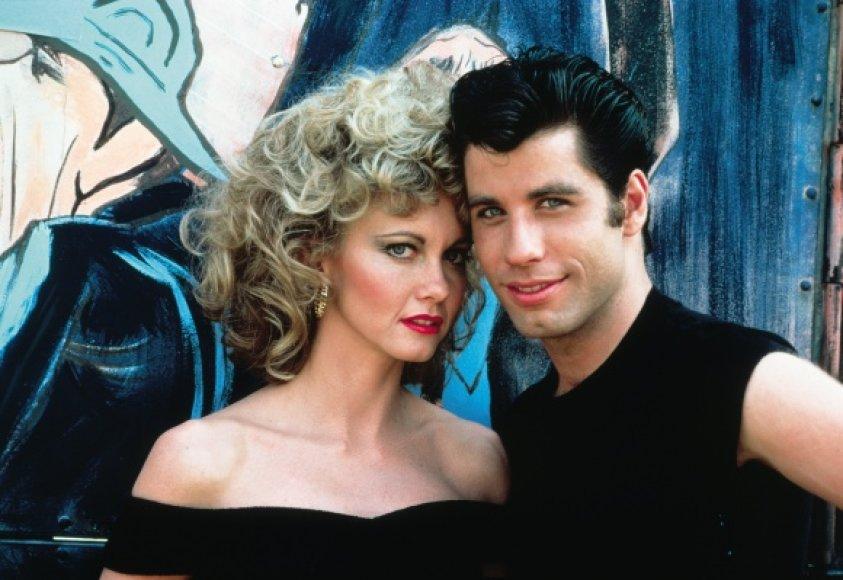 """Miuziklo """"Briliantinas"""" žvaigždės – Olivia Newton-John ir Johnas Travolta."""