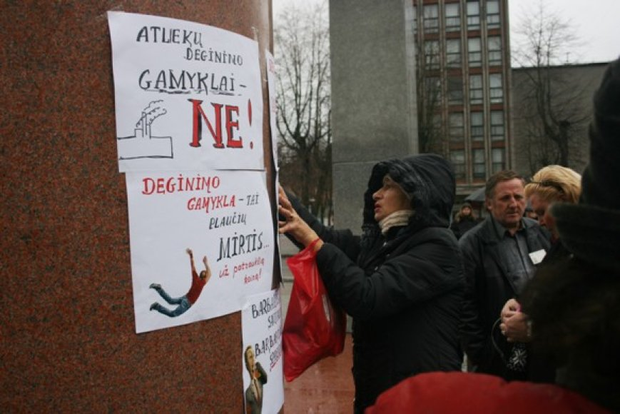 Piketuotojai prie paminklo kabino priešiškų nuomonių plakatus dėl planuojamų termofikacinės elektrinės statybų. 2010 m. lapkričio 6 d.