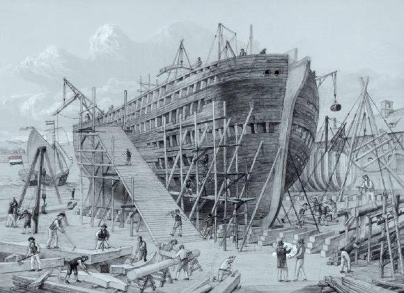 Laivo statybų akimirka. Šarūno Leonavičiaus piešinys.