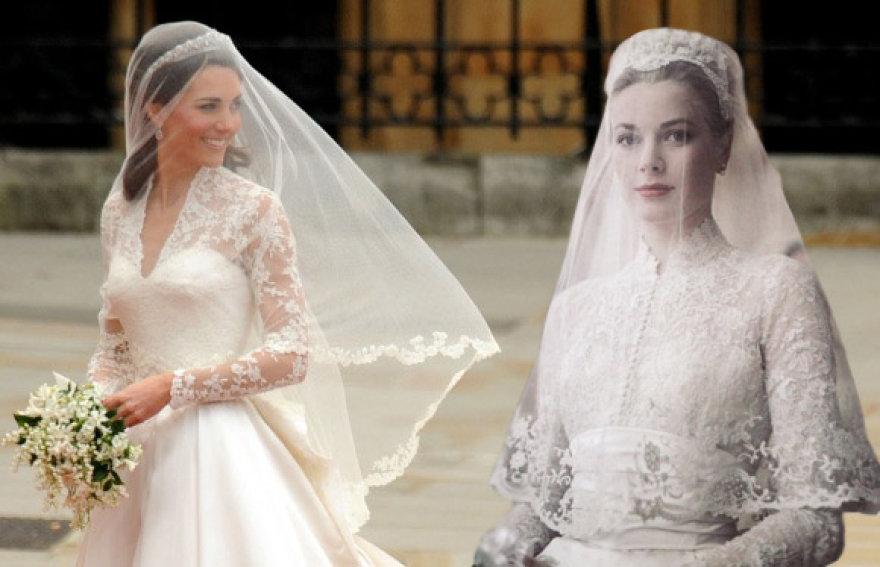 Kate Middleton savo vestuvių dieną dizaineriui Juozui Statkevičiui priminė Grace Kelly (dešinėje), 1956 metų balandį ištekėjusią už Monako princo Rainier III.