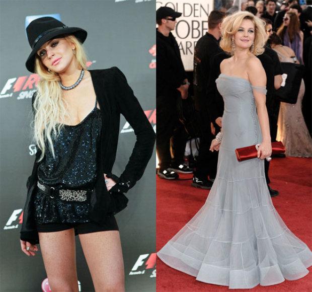 Lindsay Lohan ir Drew Barrymore