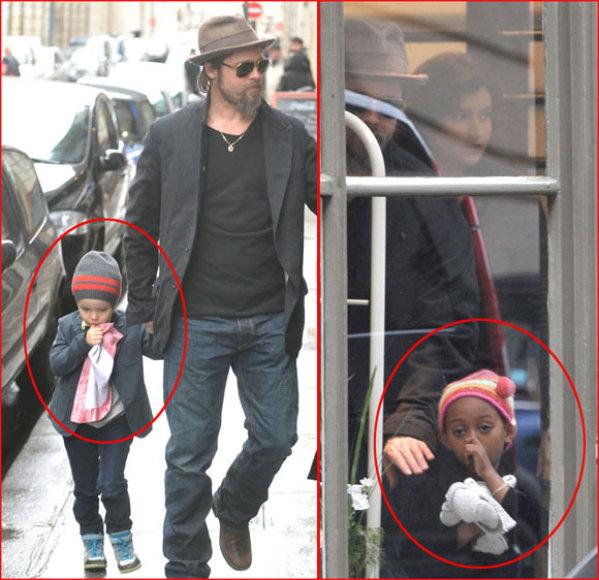Bradas Pittas su dukrelemis