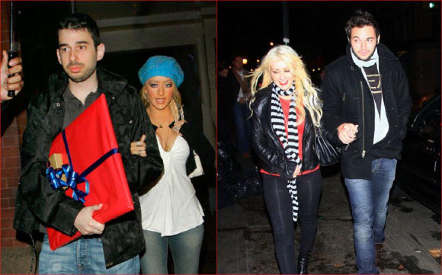 Christina Aguilera su buvusiu vyru (kairėje) ir su meilužiu (dešinėje)