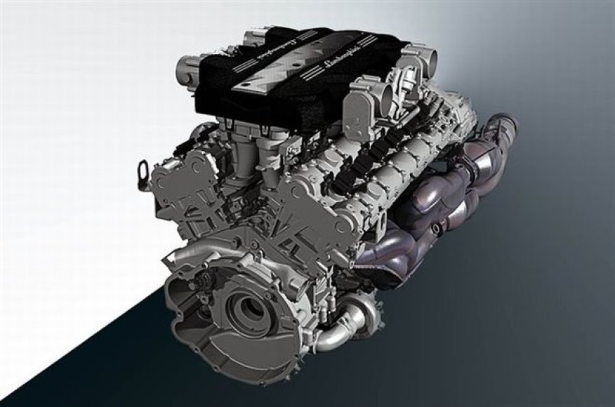 """Naujausias """"Lamborghini"""" V12 variklis"""