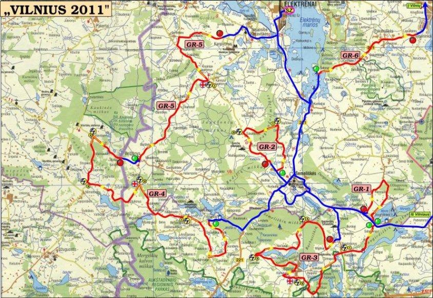 """Ralio """"Vilnius 2011"""" pagrindinis žemėlapis"""