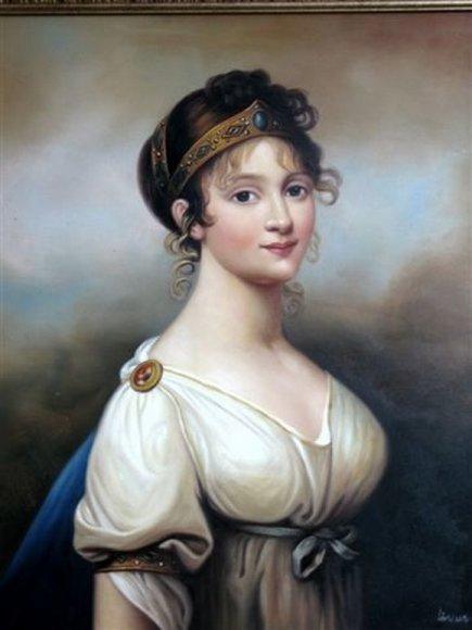 """Nežinomo dailininko ant drobės tapytas paveikslas """"Prūsijos karalienė Luizė"""" (pagal J.Grassi """"Karalienė Luizė su diadema"""", 1802 m.)."""