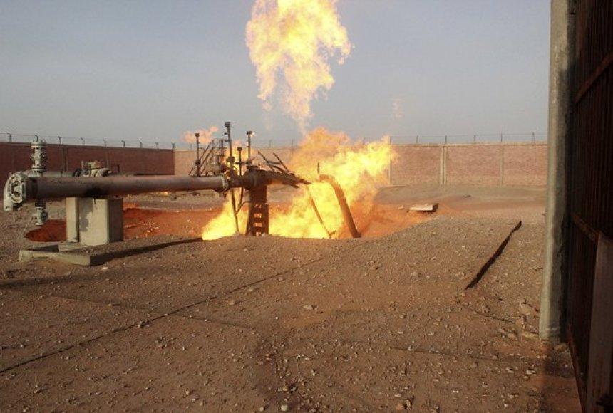 Egipte susprogdinto dujotiekio dalis