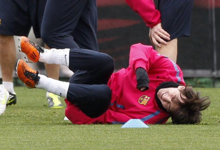 Treniruotėje Messi nestokojo geros nuotaikos.