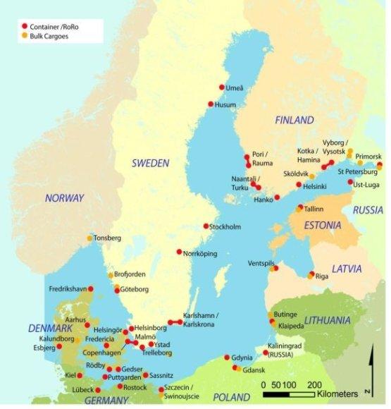 """Svarbiausi Baltijos jūros uostai pagal išankstinę """"Baltijos transporto perspektyvos 2030"""" (Baltic Transport Outlook 2030) studiją"""