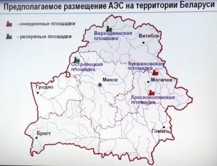 Planuojamos vietos atominėms elektrinėms Baltarusijoje. Iš keturių variantų pasirinktas Astravas