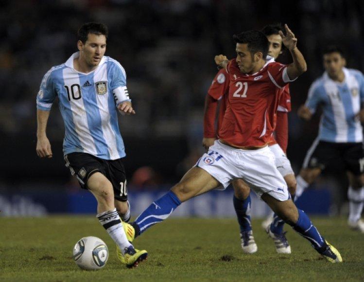 Lionelis Messi rungtynėse su Čile