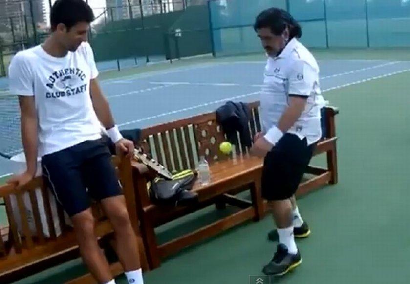 Novakas Djokovičius ir Diego Maradona