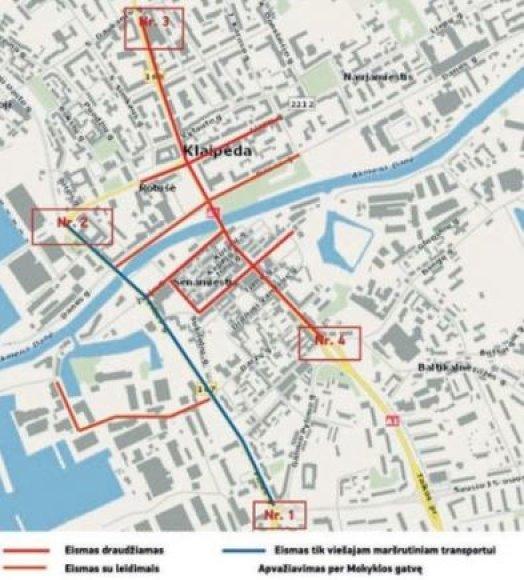 Transporto eismo schema Klaipėdoje Jūros šventės metu