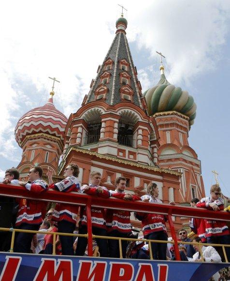 Maskvoje vyko šventinis Rusijos ledo rinktinės paradas.