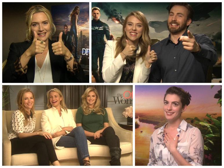 Kate Winslet, Scarlett Johansson, Chrisas Evansas, Leslie Mann, Cameron Diaz, Kate Upton ir Anne Hathaway