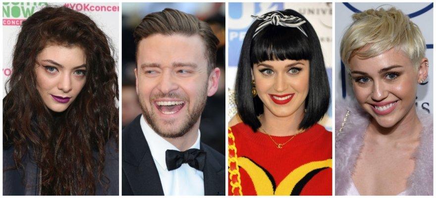 Lorde, Justinas Timberlake'as, Katy Perry ir Miley Cyrus