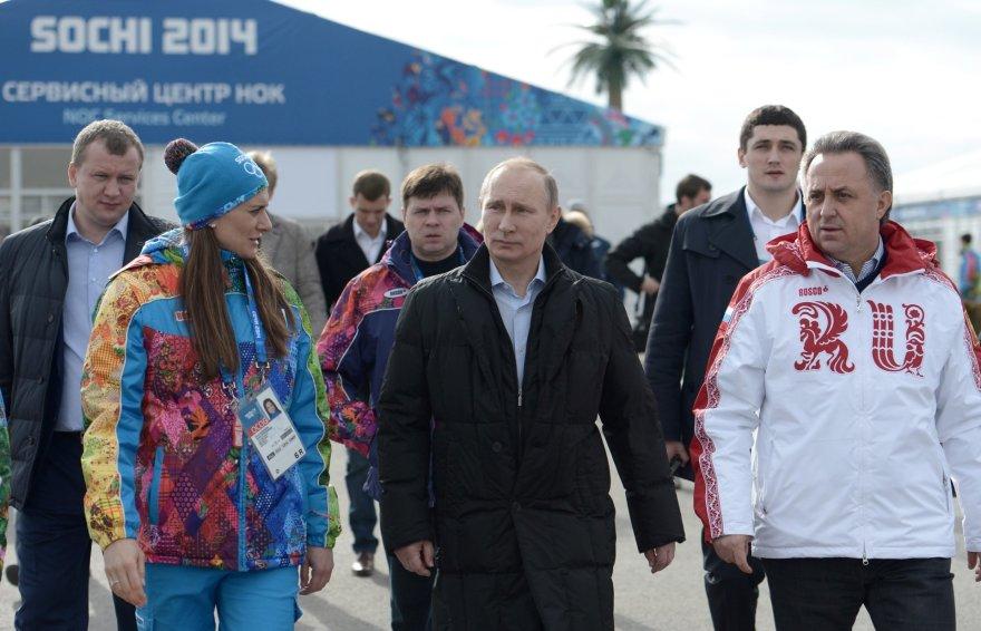 Vladimiras Putinas ir Rusijos sporto ministras Vitalijus Mutko