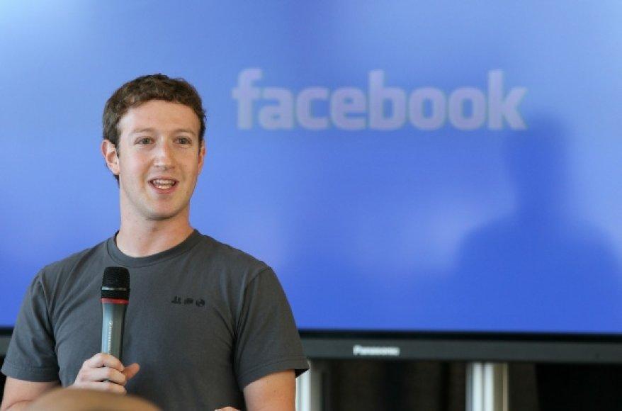"""Socialinio tinklo """"Facebook"""" įkūrėjas Markas Zuckerbergas."""
