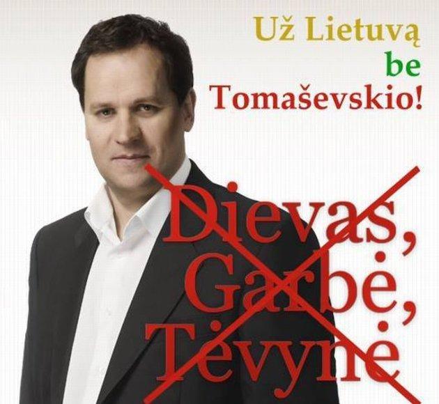 """""""Facebook"""" puslapio """"Už Lietuvą be Tomaševskio"""" iliustracija."""