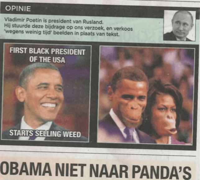 "Barackas ir Michelle Obamos Belgijos laikraštyje ""De Morgen"""