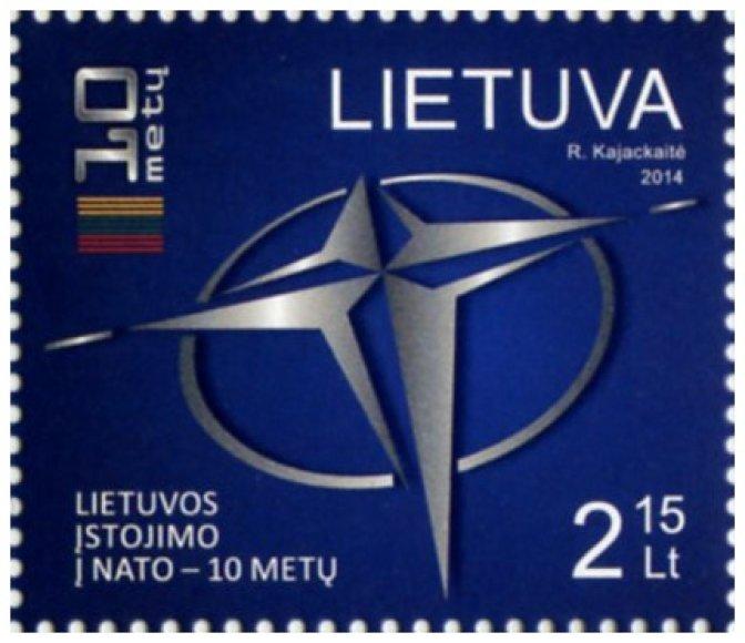 Pašto ženklas, skirtas Lietuvos įstojimui į NATO 10-mečiui