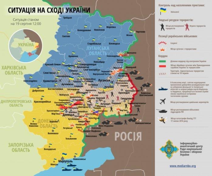 Situacija rytų Ukrainoje rugpjūčio 19 d.