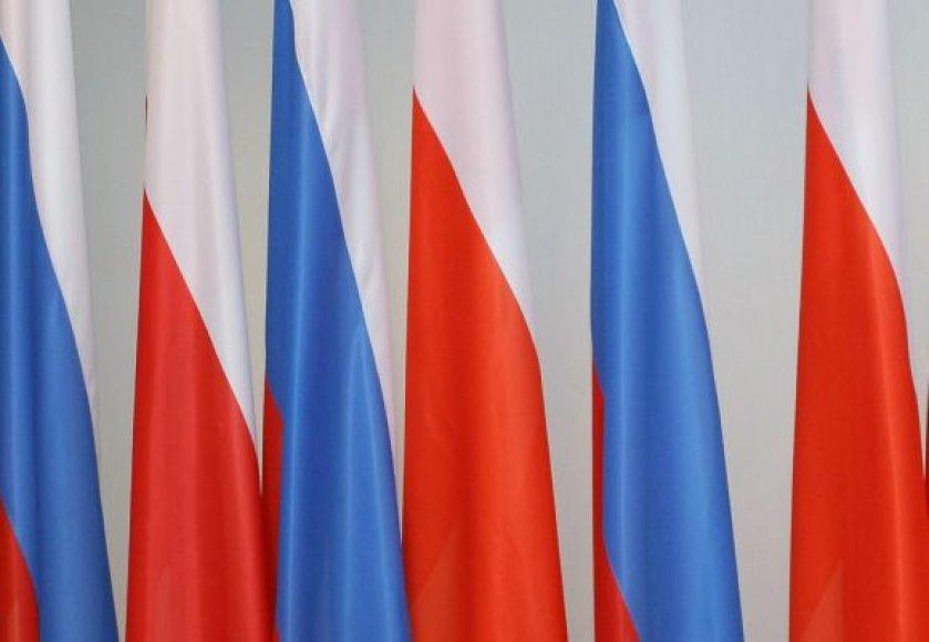 Lenkijos ir Rusijos vėliavos