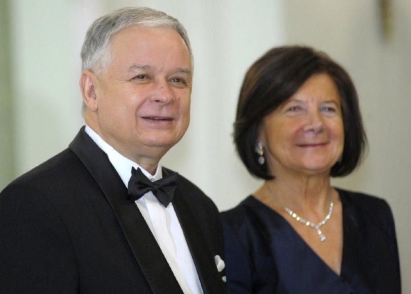 Lechas Kaczynskis ir jo žmona Maria