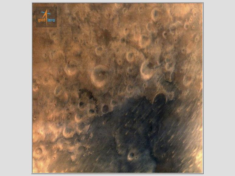 Mangalyaan atsiųsta Marso paviršiaus nuotr.