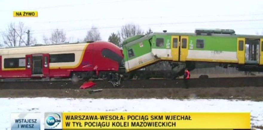 Keleivinių traukinių susidūrimas netoli Varšuvos