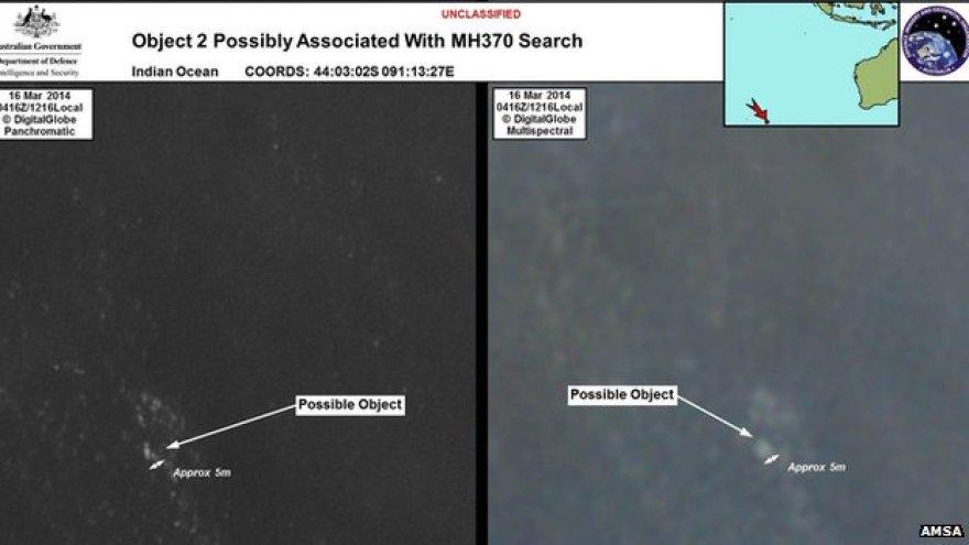 Australijos tarnybų paviešintos palydovo nuotraukos, kuriose matyti pastebėti objektai