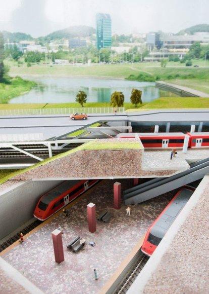Metro stotelės maketas prie Baltojo tilto.