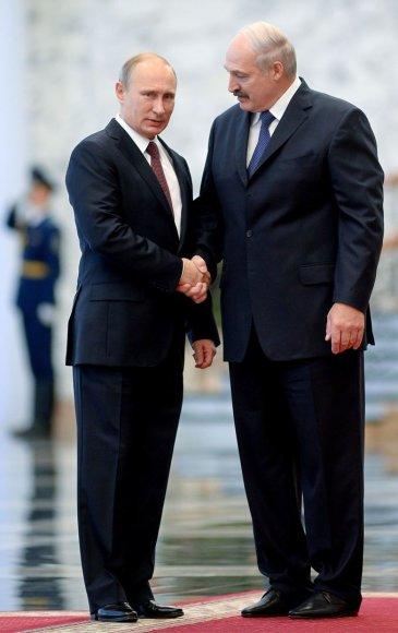 Rusijos prezidentas Vladimiras Putinas ir Baltarusijos prezidentas Aliaksandras Lukašenka