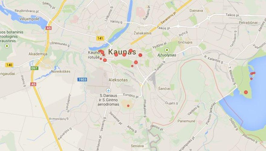 """Kaunas be Nemuno vagos """"Google"""" žemėlapiuose"""
